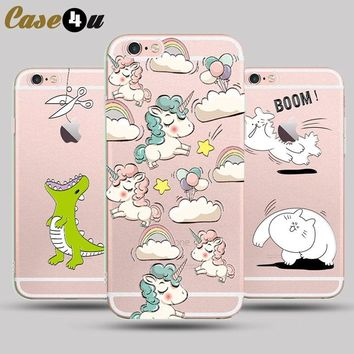 Funny Unicorn Horse Case for capinhas iPhone 8 7 6s Plus iphone7 Soft TPU Rubber Hard Protective Hybrid Case Monsters coque capa