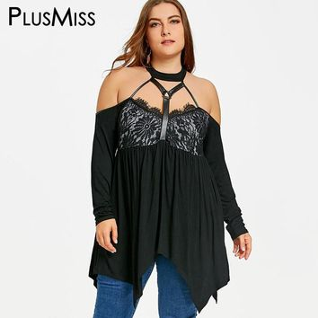 PlusMiss Plus Size 5XL Sexy Off the Shoulder Halter Babydoll Top Women Clothes Vintage Lace Crochet Loose Blouse Shirt Big Size