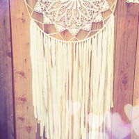 Extra Large White & Gold Crochet Doily Fabric Boho Shabby Chic Dreamcatcher