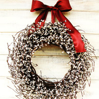 Winter Door Wreath-Rustic Christmas Door Wreath- WHITE Berry Wreath-Country Christmas Home Decor-Holiday Wreath-Choose Scent and Ribbon