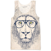 Polar bear with blue beanie tank top