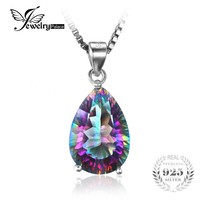 JewelryPalace Pear 5ct Natura Rainbow Fire Mystic Topaz Pendant Solid 925 Sterling Silver Brand Vintage Jewelry Without a Chain