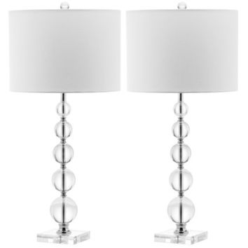"Safavieh Emma 4 Glass Ball 30"" H Table Lamp with Drum Shade (Set of 2)"