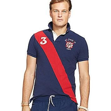 Polo Ralph Lauren Big & Tall Custom-Fit Banner-Stripe Rugby Shirt - Fr