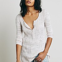 Free People Womens Ribbed Up Henley