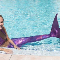 Swimmable Mermaid tails +Bikini top (with monofin) Sparkle Scale Girls Kids gift