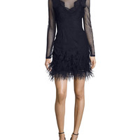 cinq a sept Amabella Embroidered Cocktail Dress with Ditsy Mesh & Feathered Hem