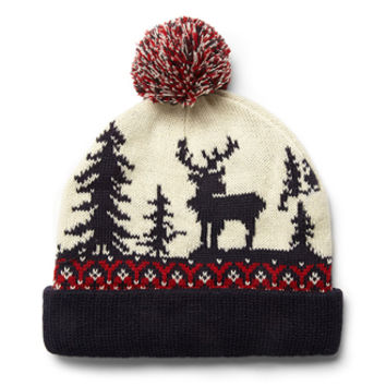 Fair Isle Pom Beanie Blue/Red One