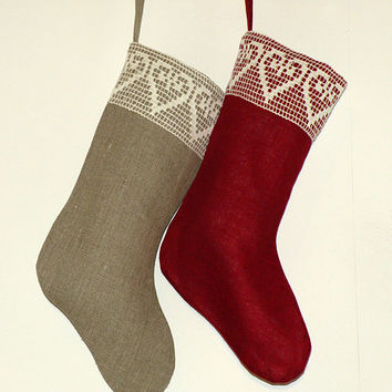 Christmas stockings . Personalized Christmas stocking,  Burlap stockings,   white  stockings, handmade stockings , christmas decor, Lace