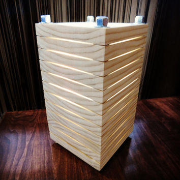 Industrial Steel Pillar Stacked Wooden Light Slotted Cube Lamp