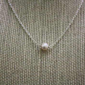Single Freshwater Pearl Necklace on Sterling Silver Chain