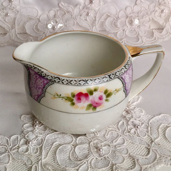 Antique Creamer, Noritake, Bridal Shower Tea, Baby Girl Shower, Antique China, Shabby Cottage Chic Decor, Purple, Hand Painted China, Gift