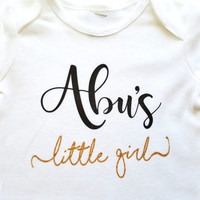 Abu's Little Girl bodysuit shirt, gold silver glitter, personalized shirt, baby shower gift, islamic gift, Daddy's Little Girl, Baba Papa
