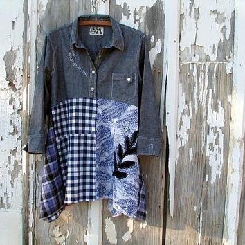 upcycled tunic / lagenlook tunic / charcoal periwinkle prairie girl artsy bohemian funky refashioned eco clothing plus sized x/xxlarge