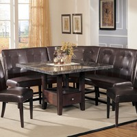 6 pc Britney collection square walnut finish wood and black marble dining table set with storage pedestal base and booth bench seating