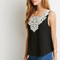 Floral Crochet-Paneled Top