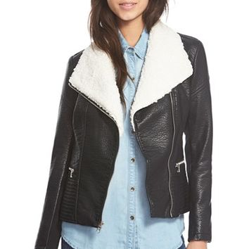 Women's Jessica Simpson FauxLeather Jacket with FauxShearlingCollar,