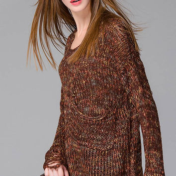 Round Neckline Patch Pocket Destroyed Side Bottom Sweater