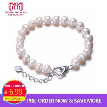 HENGSHENG Real Natural Near Round Pearl Jewelry Bracelet,925 Sterling Silver Love Buckle,7-8mm Beads Jewelry,Fine Women Jewelry