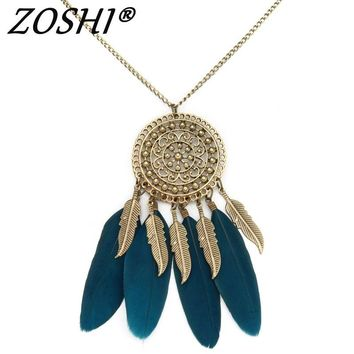 ZOSHI Collier Femme Plume Native American Fringe Feathered Gold Necklace