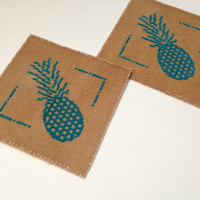 Handmade fabric coasters Cross stitch coasters of pineapple Tea colored coasters Lovely blue pineapples