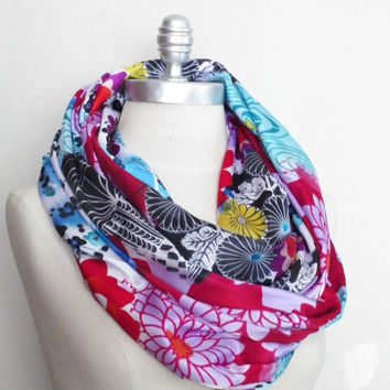 Infinity Scarf, Multicolor Floral Print Fabric Scarf, Bird Print Loop Scarf, Mobius Scarf, Fashion Scarf, Fall Essentials