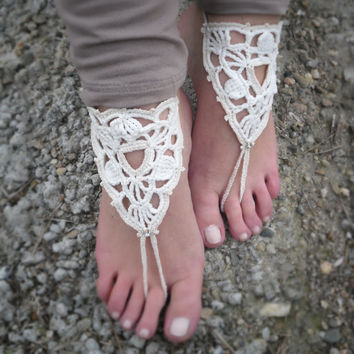 Crochet ivory barefoot sandals, white lace barefoot sandals, foot jewelry, wedding shoes, nude shoes, lace shoes