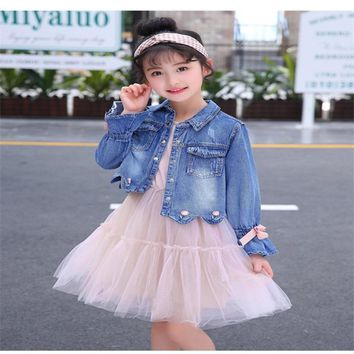 LILIGIRL Baby Vintage Tops Clothes Sets 2018 Autumn Kids Denim Jackets Princess Lace Dress for Girls Elegant Coat Costume Suit