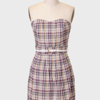 Margie Belted Plaid Dress