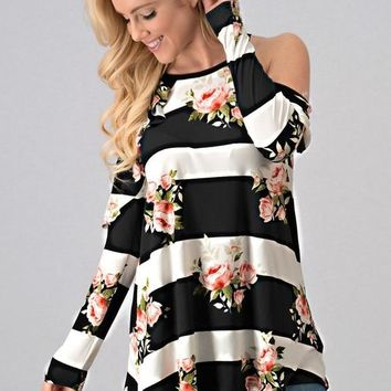 Striped Floral Ruffle Top - Black