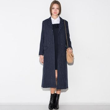 PLT Navy Striped Trench Coat