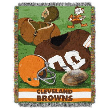 Cleveland Browns NFL Woven Tapestry Throw (Vintage Series) (48inx60in)