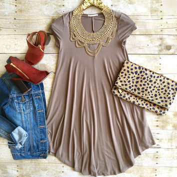 Taupe Tshirt Dress