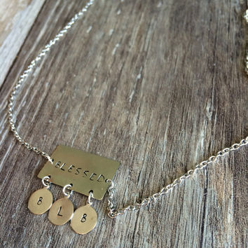 Custom Stamped Blessed Necklace - Childrens Initials - Family - Faithfully Inspired