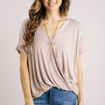 Bridget Tan Short Sleeve Surplice Top