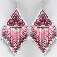 Extra Large Earrings. Native American Beaded Earrings Inspired.  White and Pink Earrings.  Beadwork