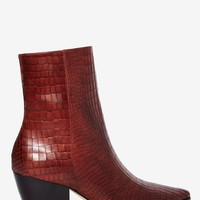 Matisse Caty Python Leather Boot - Burgundy