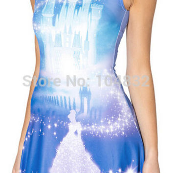 CINDERELLA PLAY Print Summer Dress Tank Top Beautiful Graphics