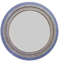 "Blue Gray Mixed Media Mosaic Mirror 18"" Ready to Ship -- ON SALE"