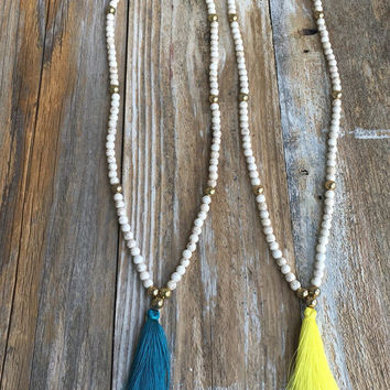White and Gold Beaded Tassel Necklace - Bright Color Tassel - Statement Necklace - White Howlite- Fashion Jewelry- Shop Maeson + Ford