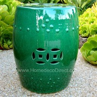Emerald Green Ceramic Garden Stool