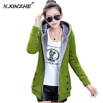 N.XINZHE Jacket Women Casual Hoodies Coat Cotton Sportswear Hooded Warm basic Jackets Coats 2016 Spring Autumn Plus Size M-3XL