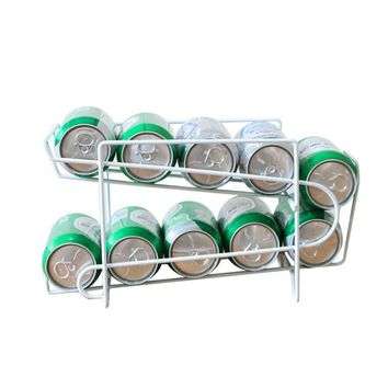 Metal Beverage Beer Storage Organizer Holder Kitchen Soda Can Finishing Refrigerator Fridge Pantry Space Saver Organization Rack