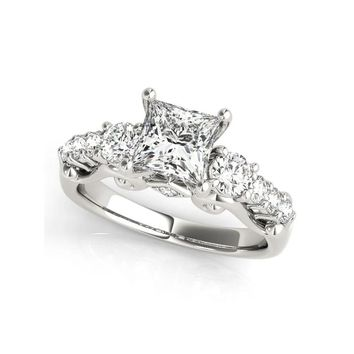 Euro Style 1.36 ct Three Stones Round Princess Cut  Sona 925 Sterling Silver Band Ring