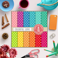 Love Digital Paper Valentine Hearts Colorful Background Heart Pattern Gift Wrap Sweet Pink Mint Blue Red Scrapbook Sweet Backgrounds 12x12