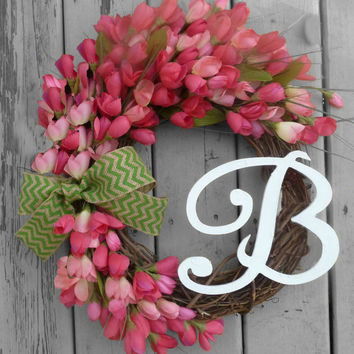 SUMMER SALE Spring Wreath - Summer Wreath - Personalized Gifts - Monogram Wreath - Tulip Wreath - Mothers Day  - Front Door Decorations - Ch