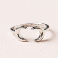 SILVER DOUBLE MOON RING