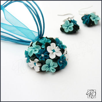 Polymer Clay Flower Necklace and Earrings Turquoise Teal - Polymer Clay Jewelry Set Tiny Flowers Teal Blue White Green.