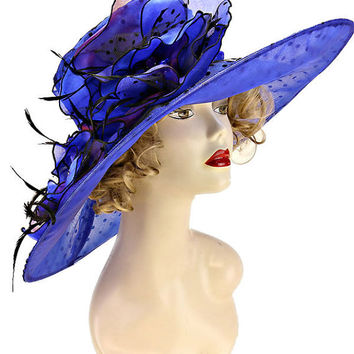 Kentucky Derby Church Wedding Polka Dot Wide Brimmed Organza Hat - Royal Blue