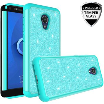Alcatel 1x Evolve Case, 1x Evolve Glitter Bling Heavy Duty Shock Proof Hybrid Case with [HD Screen Protector] Dual Layer Protective Phone Case Cover for Alcatel 1x Evolve W/Temper Glass - Teal